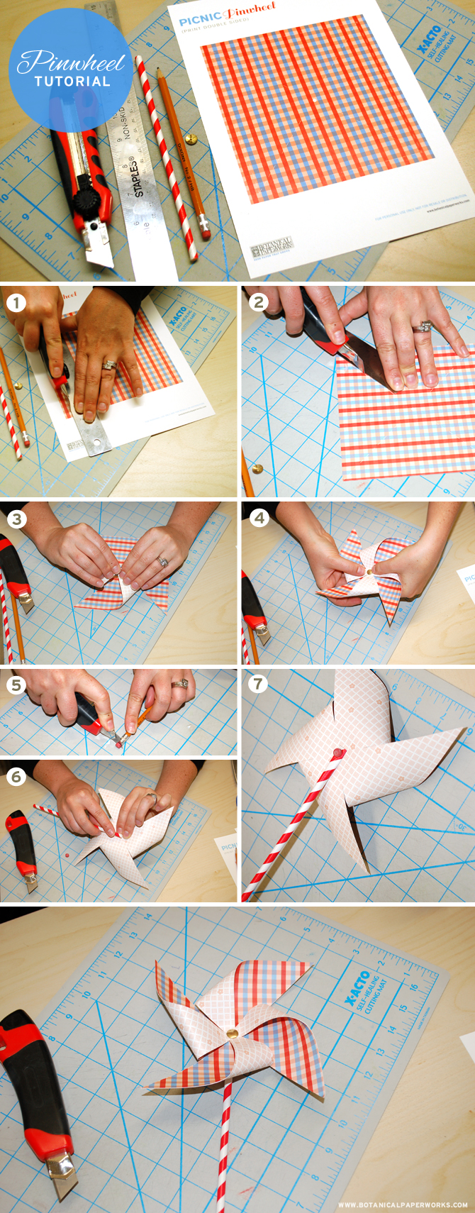 Here's a great Picnic Pinwheel Free Printable and step by step tutorial so you too can easily make these adorable pinwheels.
