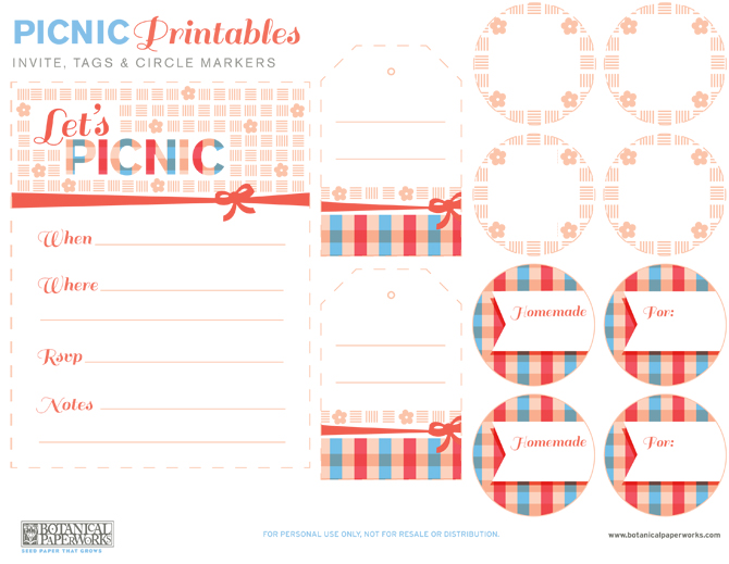 Here is your download file for your Picnic Free Printables. It includes the Invite, Tags and Circle Markers