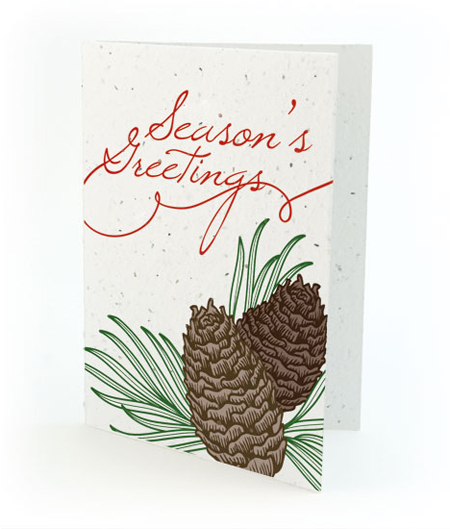 Pinecone Season's Greetings Plantable Personalized Christmas Cards
