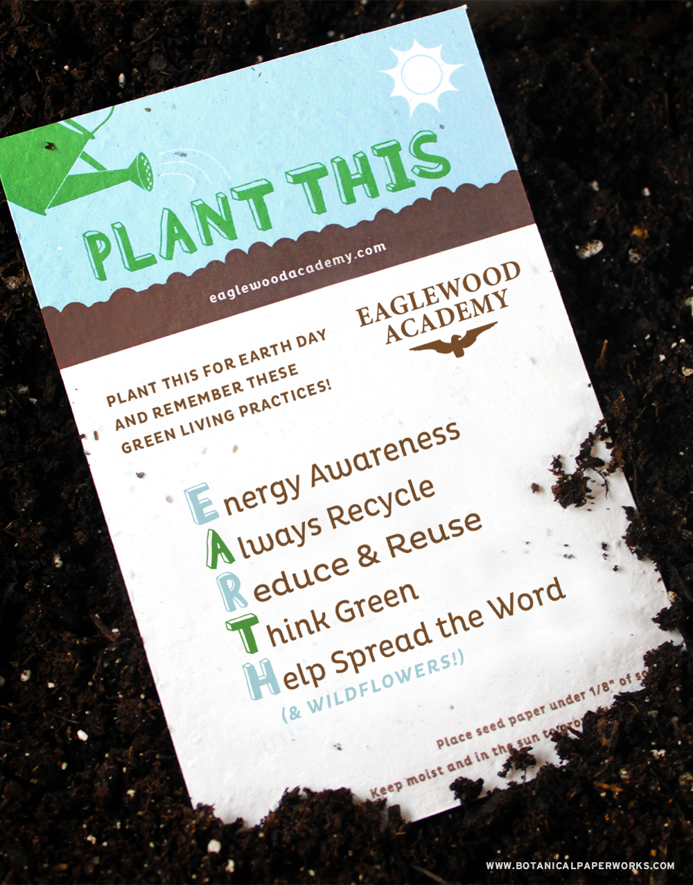 Get your Earth Day message our there and take a look at this fun idea shown on 3 different seed paper promotional products