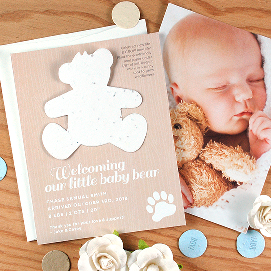 Share a beautiful photo of your new born baby with a plantable gift that grows with these unique birth announcements.