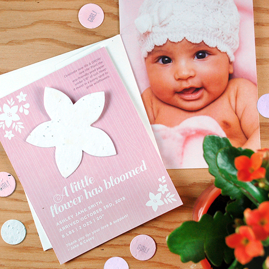 Share a keepsake photo of your adorable baby with a plantable gift that grows with these unique seed paper birth announcements.