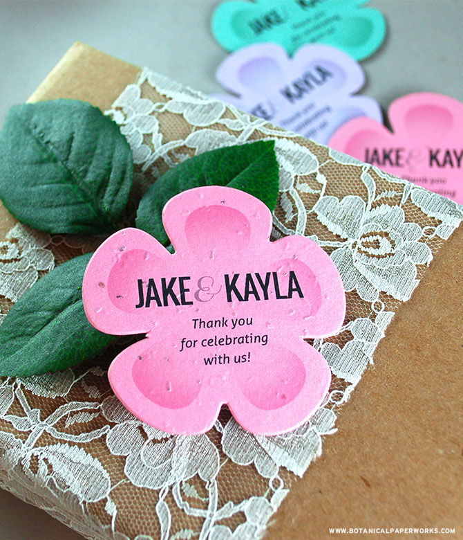 See all of the designer shades & trendy shapes for these NEW seed paper wedding favors!