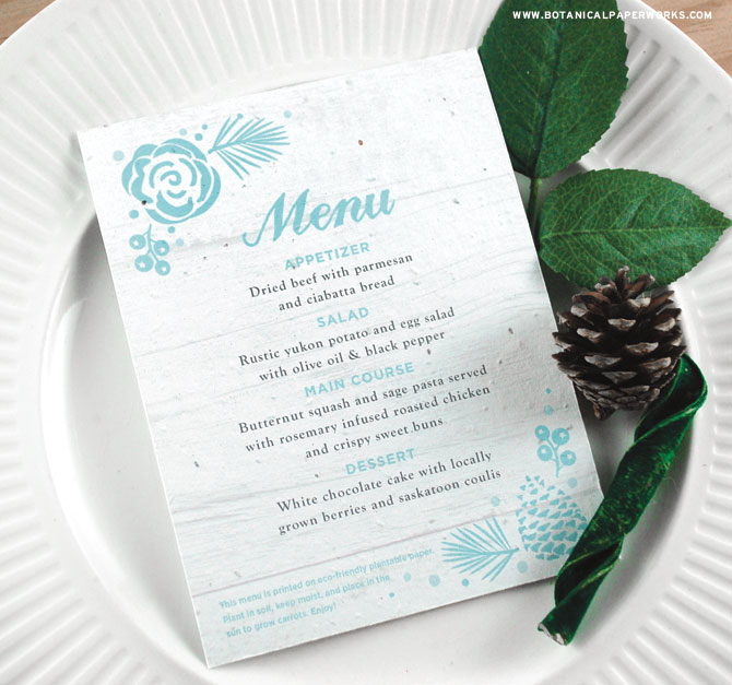 Wedding guests will love the rustic design of these Winter Wonderland Seed Paper Menu Cards. They'll also love getting to plant them to grow REAL carrots, too! See MORE from our new #ecofriendly collection now.