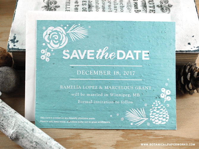 Share the exciting news of your wedding with the rustic yet elegant Winter Wonderland Seed Paper Save The Dates! See MORE from our new #ecofriendly collection now.