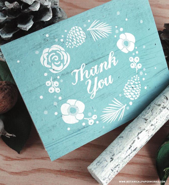 Show your appreciation in a stylish and eco-friendly way with the rustic Winter Wonderland Seed Paper Thank You Cards. See MORE from our new #ecofriendly collection now.