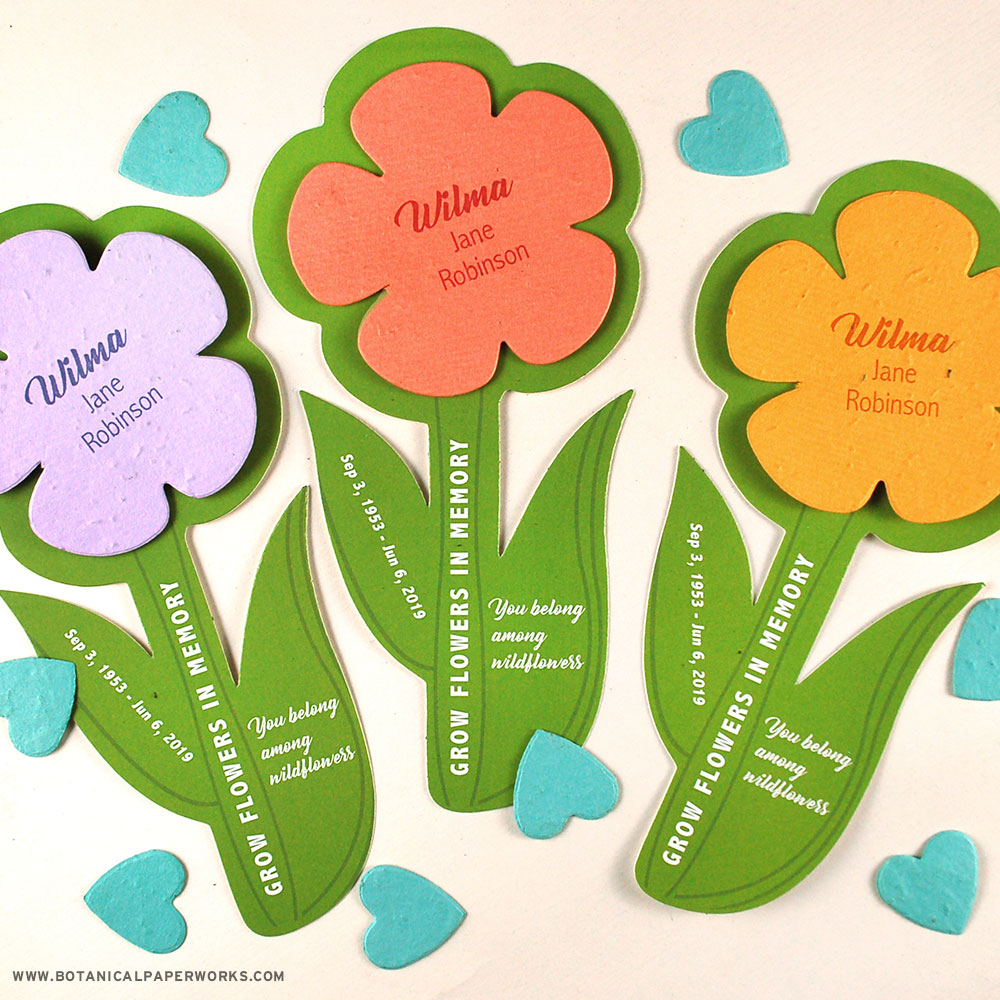 Share and grow wildflowers in memory with these beautiful and lively flower shaped memorial seed cards.