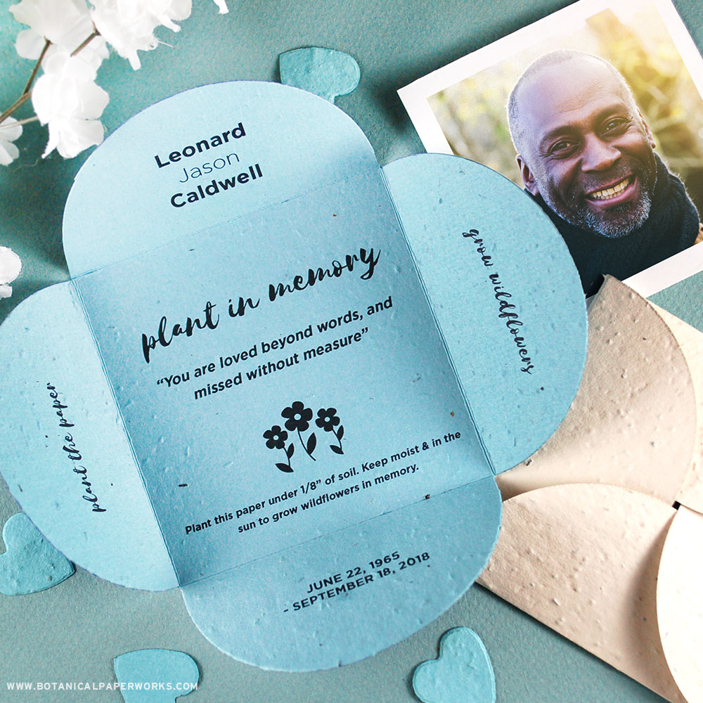 Share these blooming memorial seed cards with friends and family in memory of a loved one.
