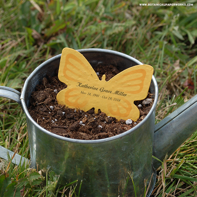 These memorial products offer grieving family members a unique way to honor their loved one and the environment - wildflowers grow from the paper when planted.