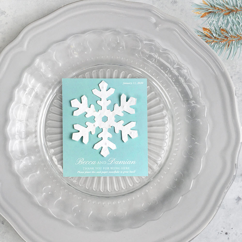 These Plantable Snowflake Favors that grow basil are perfect for winter weddings!