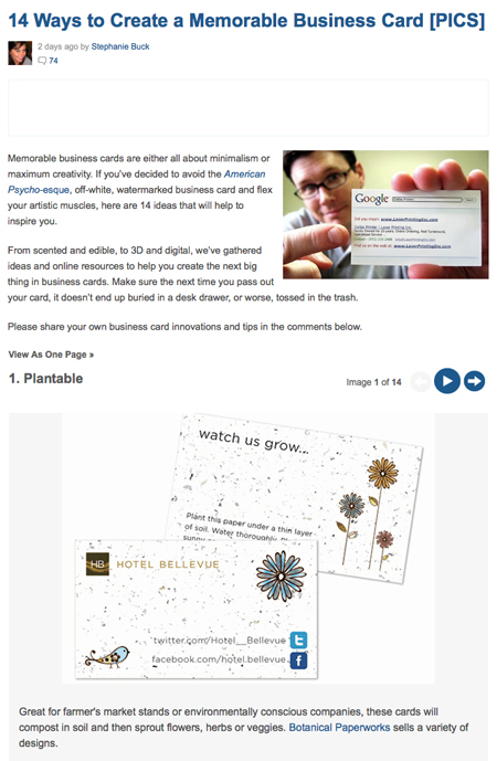 plantable business cards on mashable