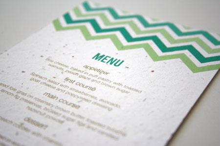 Plantable Chevron Menu Card