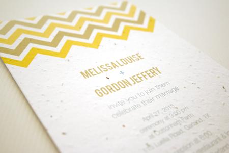 Plantable Chevron Wedding Invitation