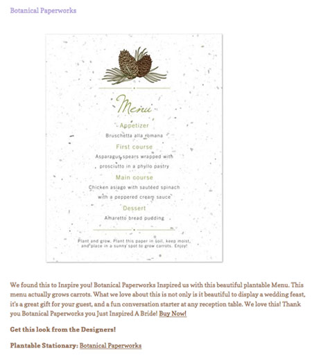 pinecone plantable menu card