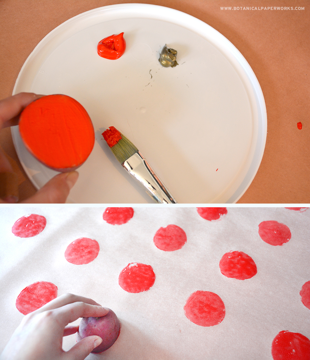 Potato-Print Holiday Wrapping Paper: Step 3
