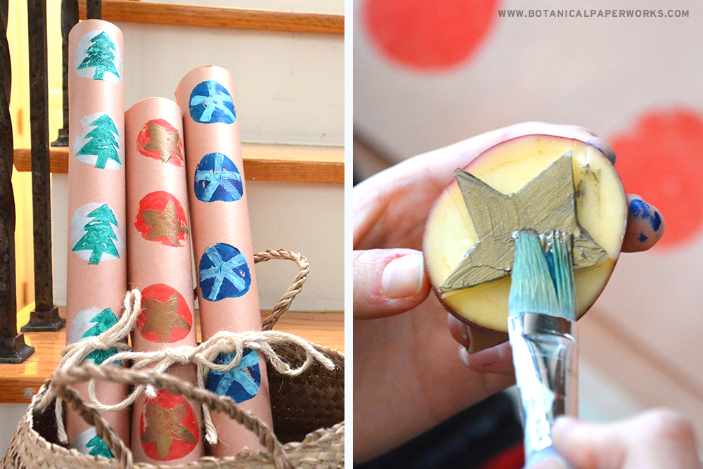Learn how to make Potato-Print Holiday Wrapping Paper in this step-by-step tutorial.