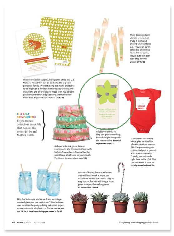 Pregnancy & Newborn Magazine feature of the Wildflower Seed Packet Favor in their GREEN issue