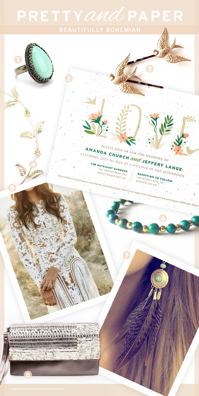 This beautiful, delicate and classy combintaion of bohemian inspired style is perfect for for a summer wedding.