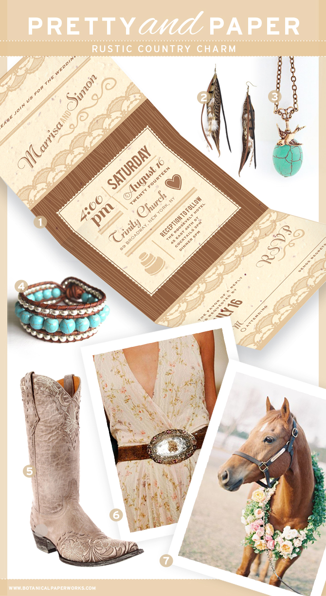 Inspiration board for the country girl in all of us that captures the charm of the rustic country trend. Created by BotanicalPaperWorks