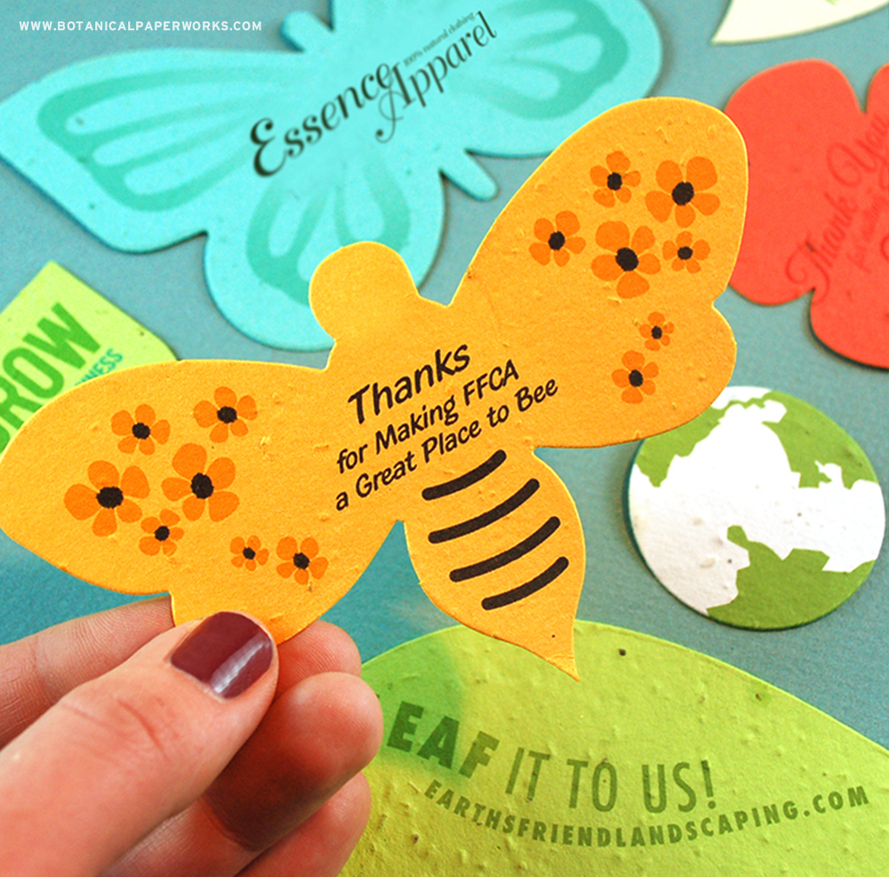 Printed Shapes are fun, colourful, unique and make perfect products for summer promotions. Completely versatile and customizable, these products are available in 27 colours and a wide range of summery shapes including a bee, butterfly and flowers. #seedpaper #summerpromotions