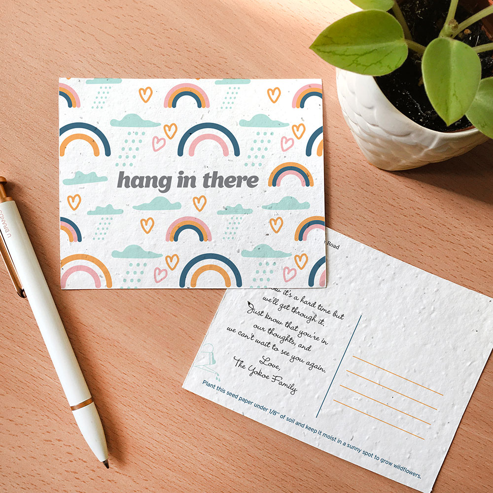 Symbolic and encouraging Rainbow Pattern Plantable Encouragement Postcards