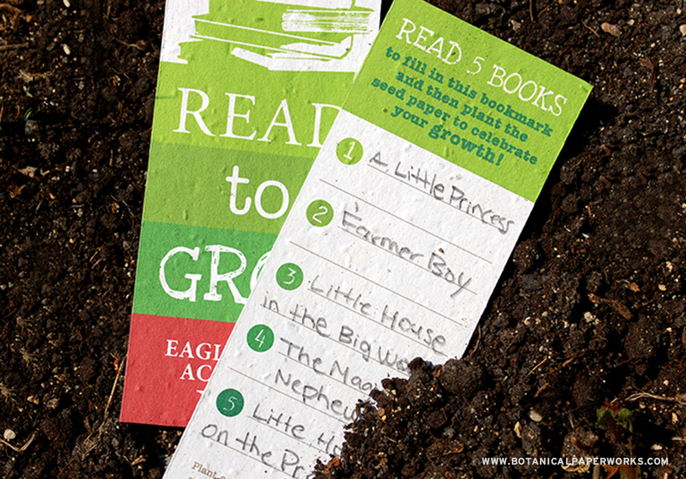 When planted in soil, these seed paper bookmarks will compost away leaving no waste behind.
