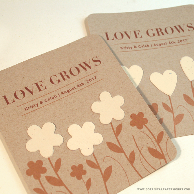 The New Garden of Love Seed Paper Wedding Favors are available with herb or wildflower seeds and come in your choice of coloured paper or a rustic desert storm paper.