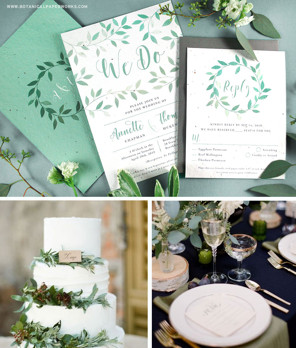 These new plantable wedding invitations are perfect for stylish winter weddings with warm rustic touches.