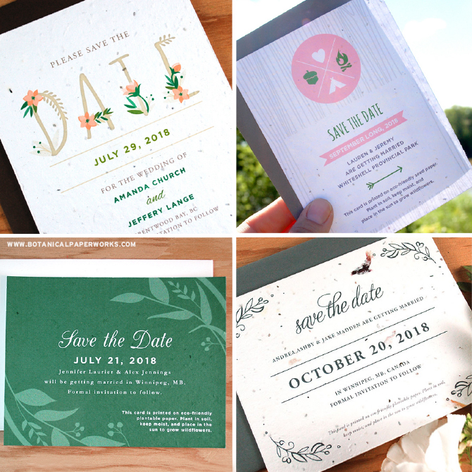 Seed paper save the date cards give a gift that grows to each and every guest! With over 60 beautiful designs and custom design and color options, you're sure to find the perfect one!