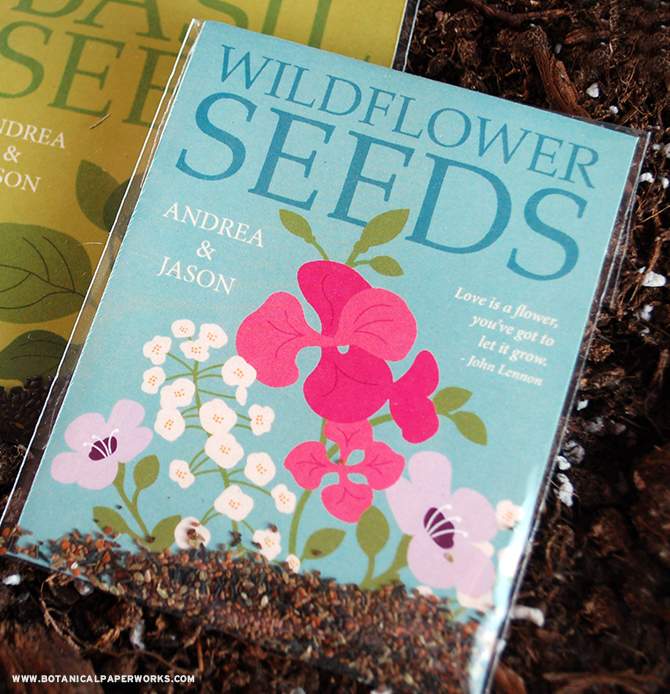 Give your guests the seeds to grow wildflowers with these beautiful new Seed Packet Wedding Favors.