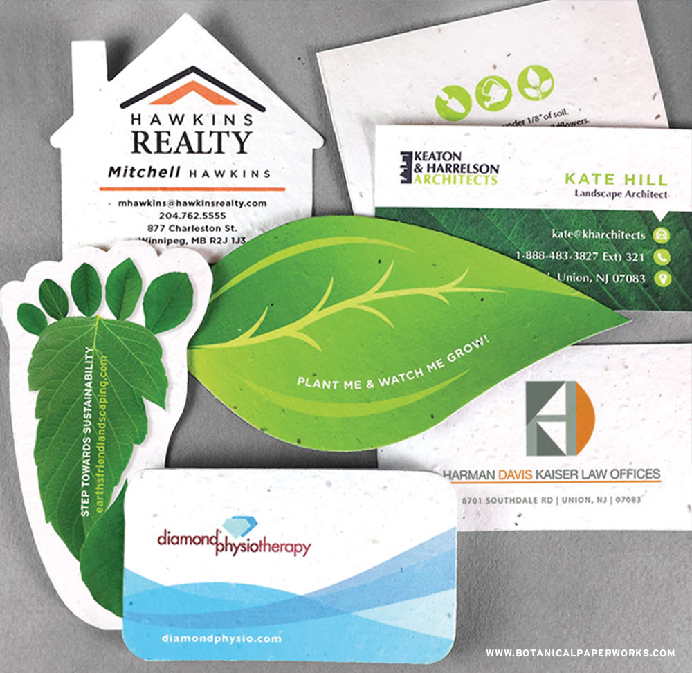 Simply add-your-logo and contact information to these pre-designed seed paper business card templates!