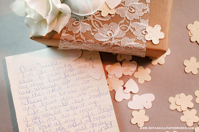 Fill a chic box with white and cream Seed Paper Confetti and include a heartfelt note asking your best friends to be a part of your wedding.
