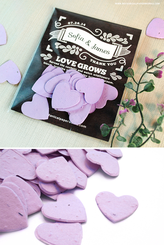 People planning Eco-Friendly Weddings will absolutely love giving their guests Seed Paper Confetti Favors that grow wildflowers when planted.