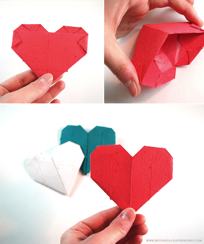 Looking for a unique #ValentinesDay craft? Take a look at these easy and eco-friendly #Origami Seed Paper Valentines Day Hearts! #Craft
