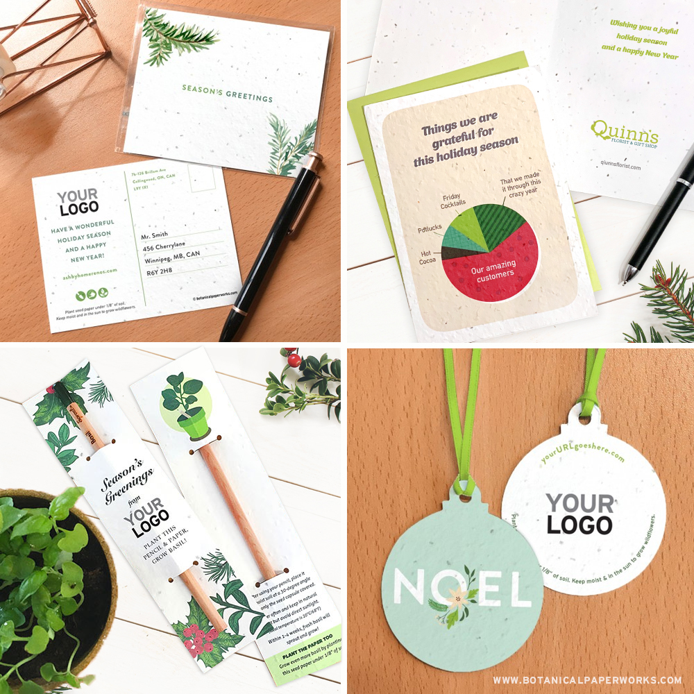 Various seed paper promotional products for the holiday season.