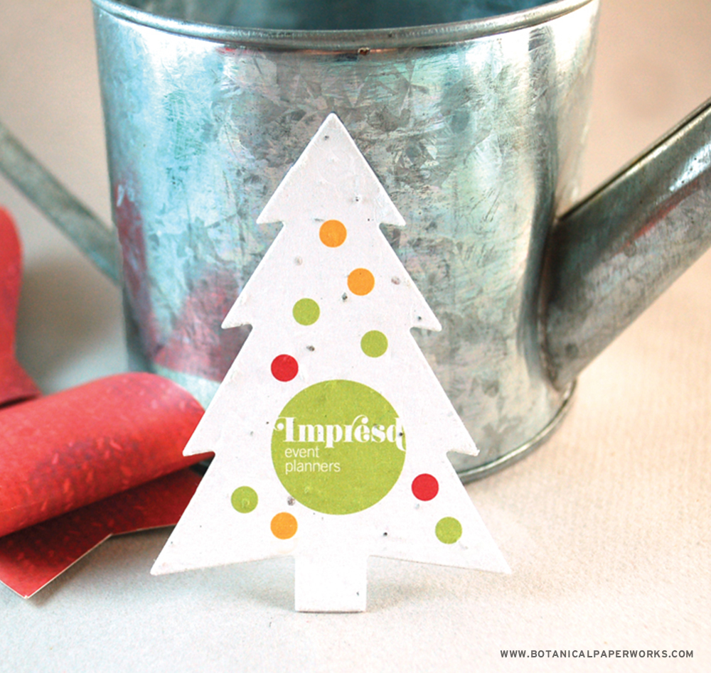 Festive and unique, these Evergreen Seed Paper Holiday Shapes are a budget-friendly way to showcase your company's eco-commitment.
