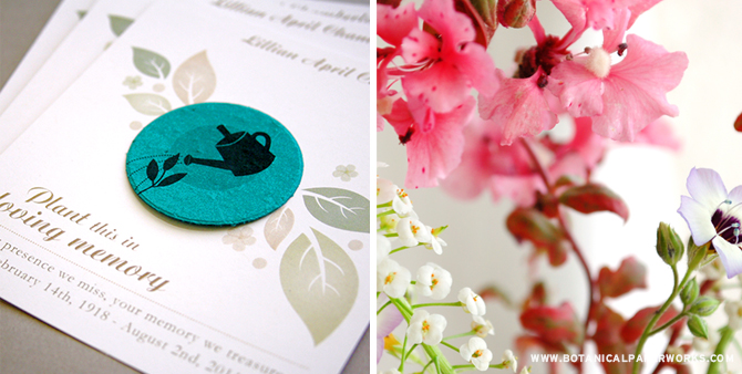 Plant something special in honor of your loved one with Seed Paper Memorial Favors and Cards.