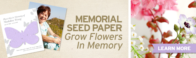 Browse through tons of seed paper memorial favors by BotanicalPaperWorks.com