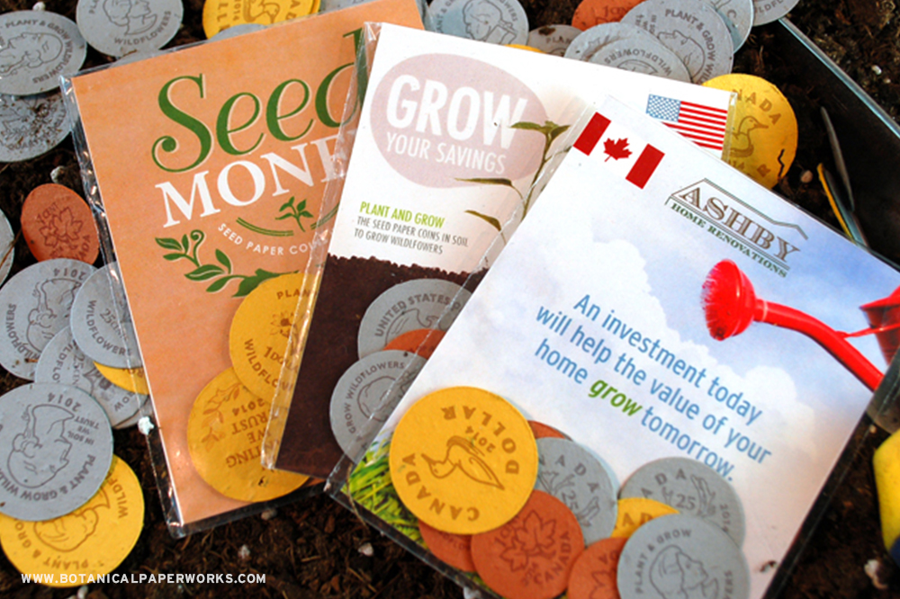 These plantable coin packs are available with 3 coin style options. Canadian, American and the In Planting We Trust flower theme.