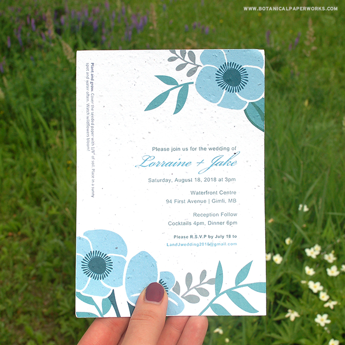 Capture the essence of fresh flowers in more ways than one with our DIY wedding invitation kits. Not only are the new designs filled with botanical beauty, the paper itself can be planted to grow REAL flowers!