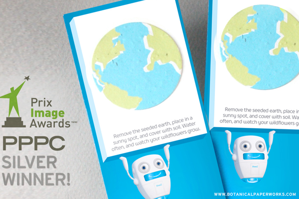 Eye-catching and sustainable, the silver award was presented to Botanical PaperWorks for eco-friendly Earth Day Seed Paper Bookmarks made for Shaw Communications with distributor Jane Mitchell from Oyster Promo Inc.