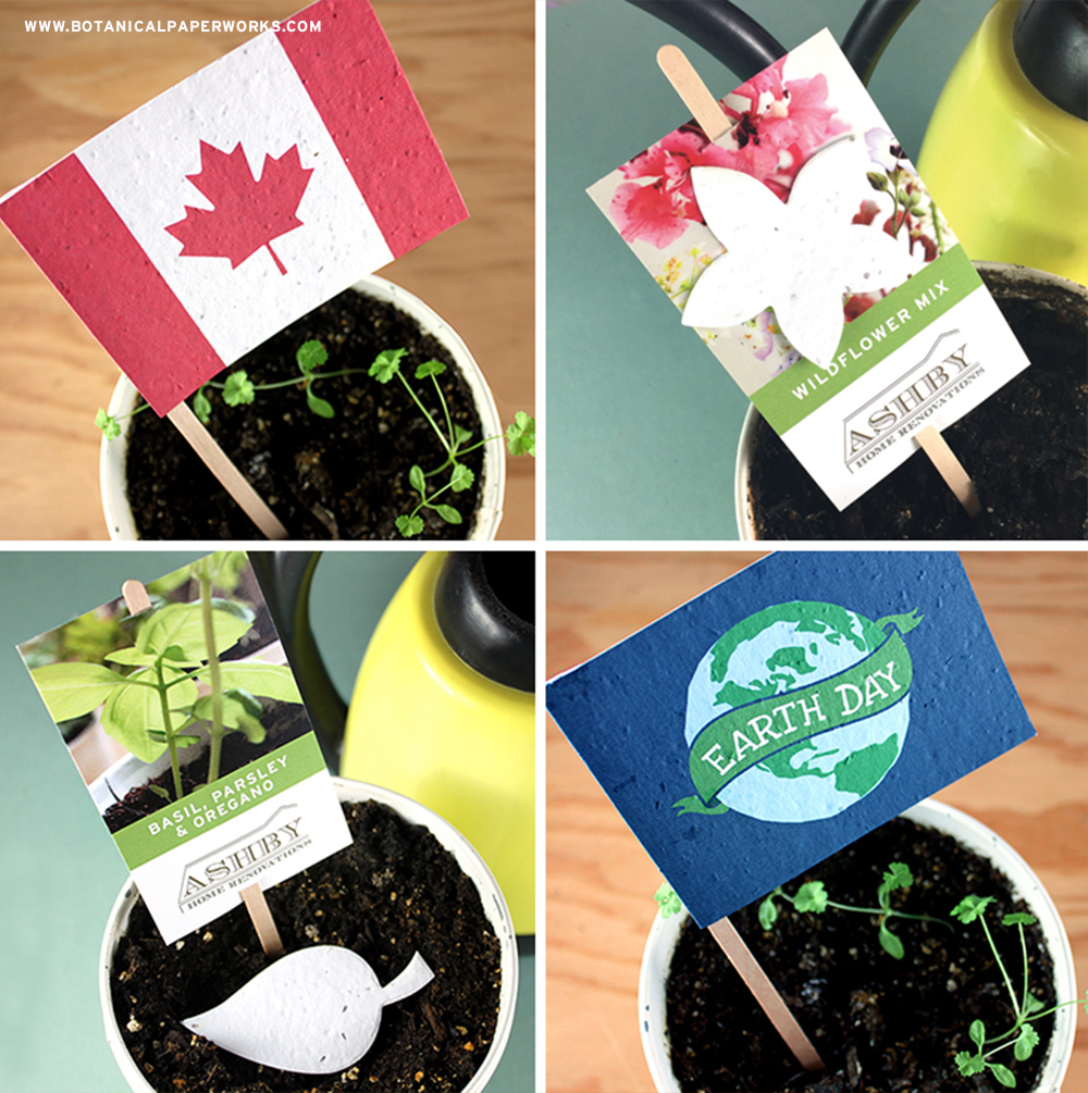 These unique seed paper promotional products come fully assembled and feature a wooden stick to help recipients mark the spot where they planted the paper!