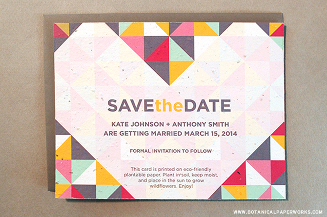 Whether you choose to wed in Spring or Summer, modern-style Save The Dates are chic and very on-trend.