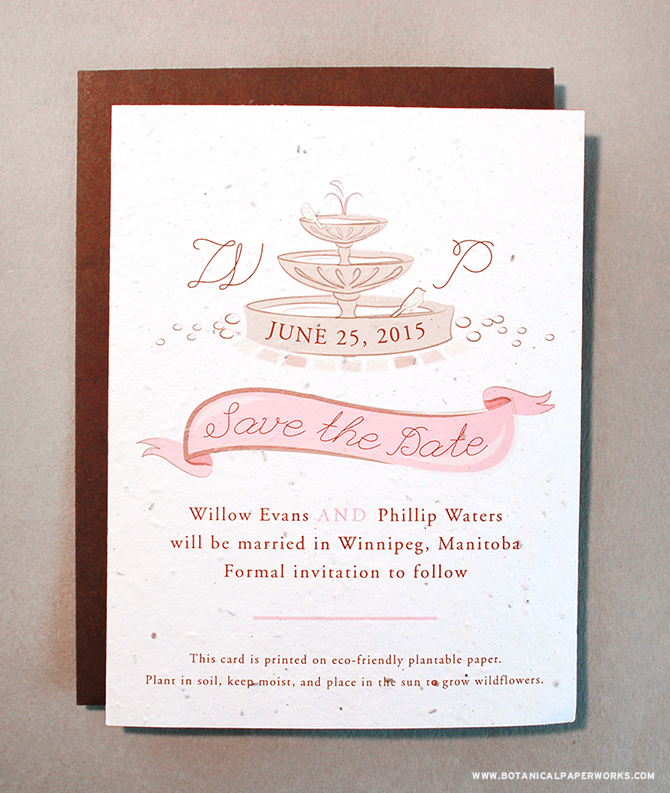 The Park Birds Save The Dates fit in perfectly with the trendy Whismsical wedding theme.