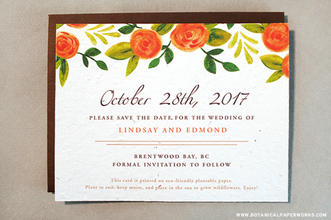 Watercolor Roses - perfect for the handpainted trend for 2015 Spring and Summer Weddings. See more trendy Seed Paper Save The Dates here!