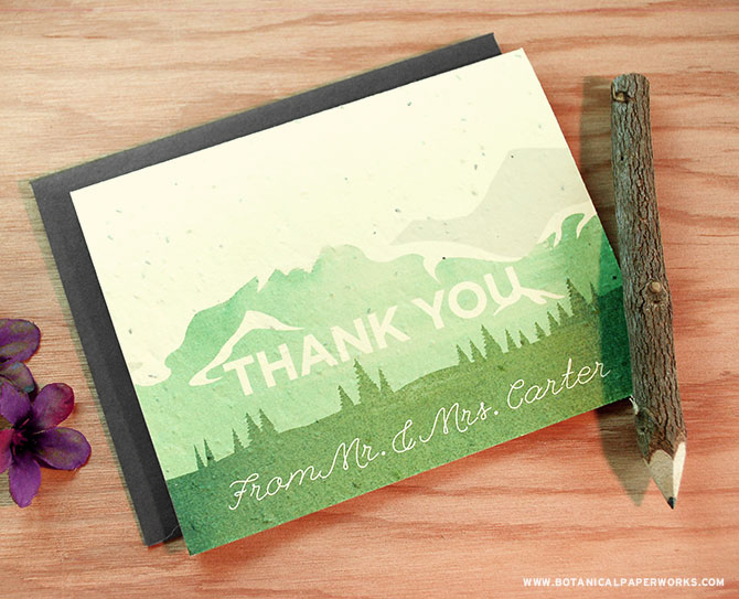 nspired by the high peaks and rolling hills of Canada's west coast, the Mountain Seed Paper Thank You Cards were created to capture the enchanting experience of being in the great outdoors.