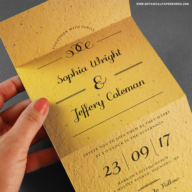 Perfect for sophisticated couples who want to make their #weddings as #ecofriendly as possible, the Formal Text Seal And Send #WeddingInvitations include the reply card and require no envelope.