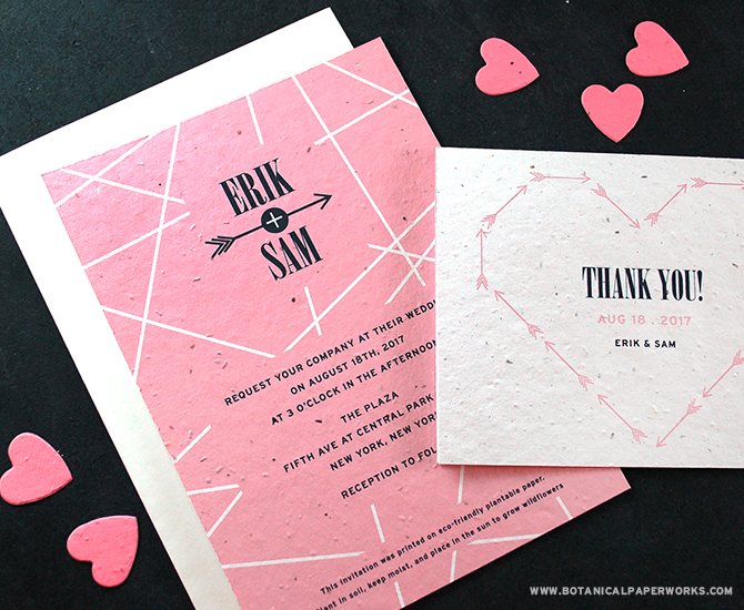 Available in 5 designer shades, the Cupid's Arrow Seed Paper Wedding Invitations is chic, eco-friendly and completely sophisticated.