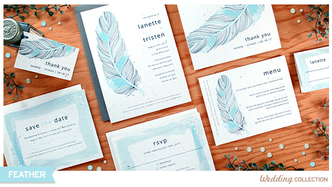 Whimsical and romantic, the Feathers Seed Paper Wedding Invitations features rustic feather designs that would be perfect for rustic weddings.