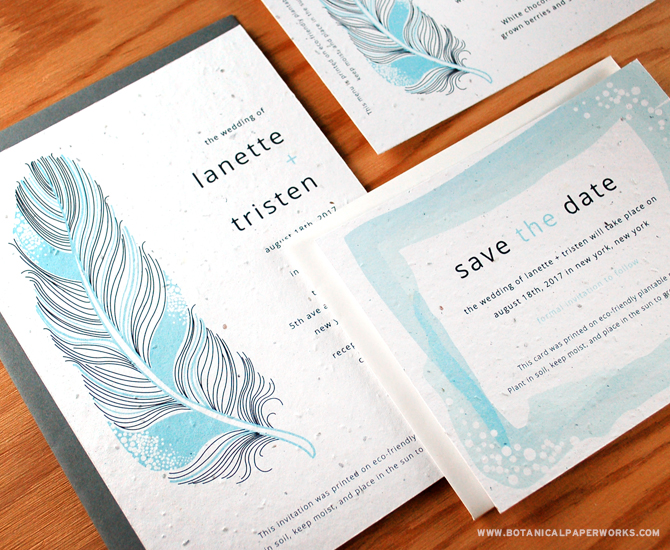 Created with stylish watercolour-like brush strokes, the Feather Seed Paper Wedding Invitations are a fabulous addition to all wedding styles.